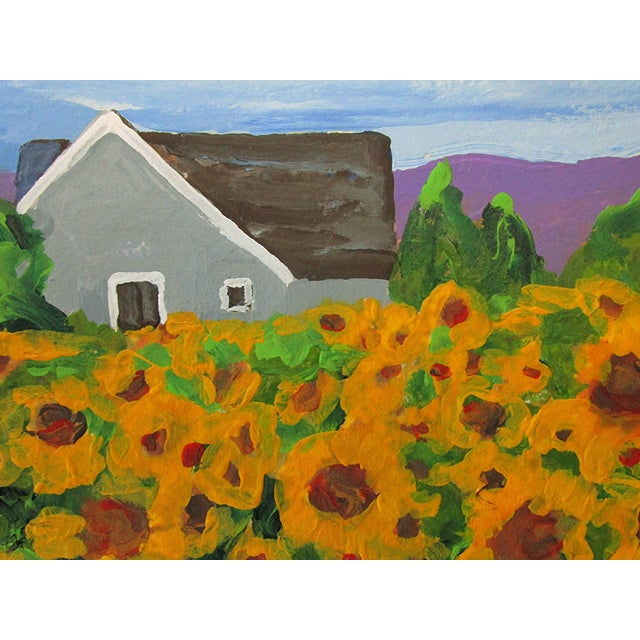 Cottage California Plein Air Landscape Sunflower Farm 5x7 Painting by Lynne French For Sale In Los Angeles - Image 6 of 7