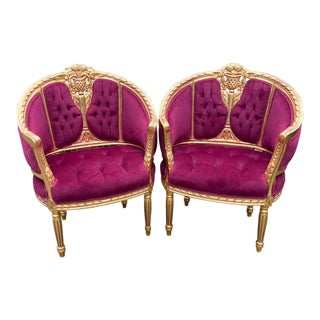 1940s Corbeille French Louis XVI Fuchsia Chairs - a Pair For Sale
