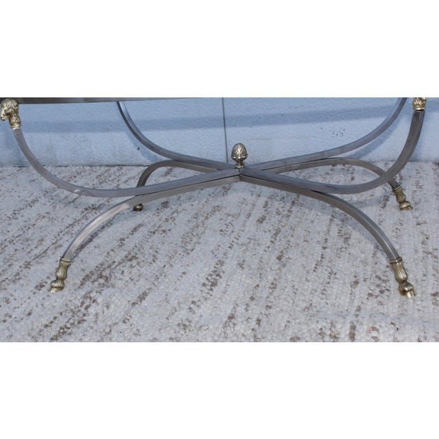 Steel and Brass Rams Head Oval Italian Coffee Table For Sale In New York - Image 6 of 13