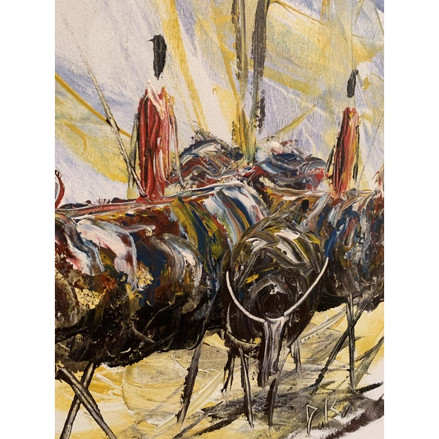 "Mid-Century Modern Mid-Century Style ""Steer"" Painting, Framed For Sale - Image 3 of 13"