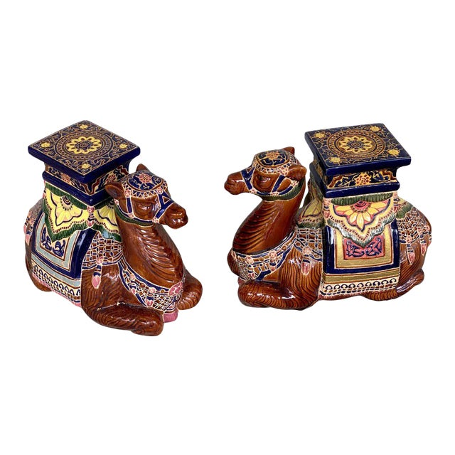 Pair of Hollywood Regency Moorish Majolica Camel Garden Seats For Sale