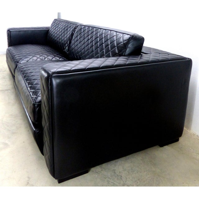 Offered for sale is an embroidered leather sofa by luxury Italian furniture maker Zanaboni. This sofa is characterized by...