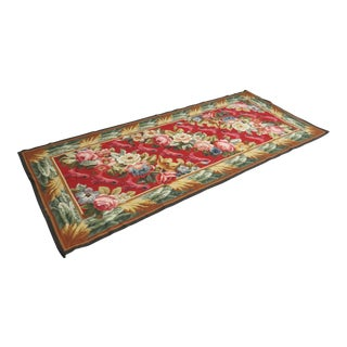 French Aubusson Red Wool Rug Runner