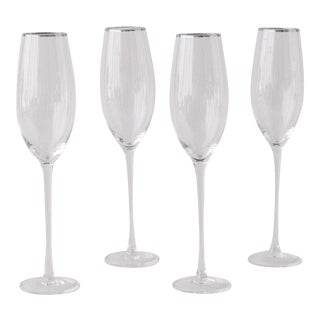 Siren Beverageware Clear + Platinum Champagne Flute - Set of 4 For Sale