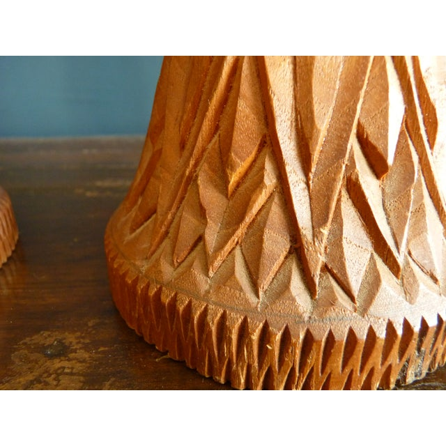 Wood Large Carved Wood Candle Vases - a Pair For Sale - Image 7 of 7