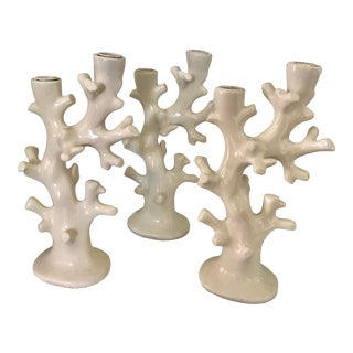 Resin Coral Motif Candleholders, S/3 For Sale
