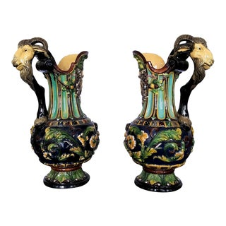 19th Century Wilhelm Schiller Majolica Ewers - a Pair For Sale