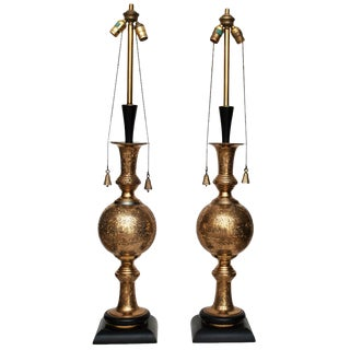 C.1950 Very Tall Indo-Persian Lamps - a Pair