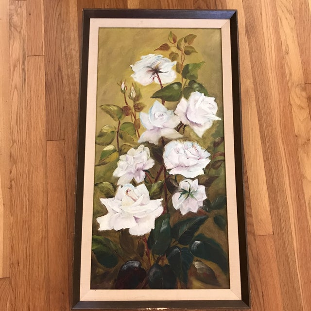 Vintage Blooming White Roses Framed Oil Painting For Sale - Image 10 of 10