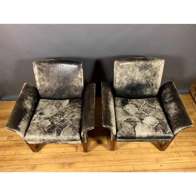 Pair of Danish 1960s Faded Black Leather Lounge Chairs For Sale In New York - Image 6 of 13