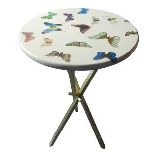1960s Vintage Fornasetti White Butterfly Occasional Table For Sale