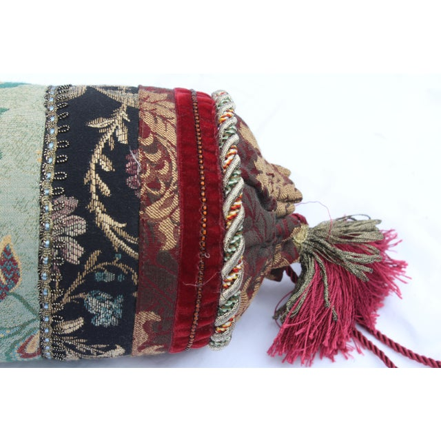 Red Contemporary Multicolored Floral Tapestry Bolster With Tassles and Cords For Sale - Image 8 of 13