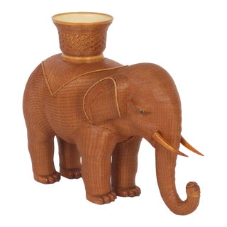 Large Mid-Century Woven Wicker Elephant Plant Stand For Sale