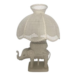 Ivory Wicker Elephant Lamp With Shade For Sale