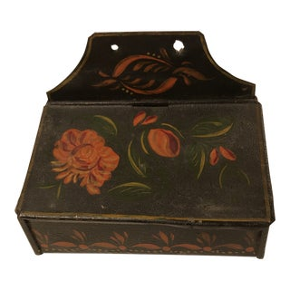 19th Century Early American Tole Ware Wall Box For Sale