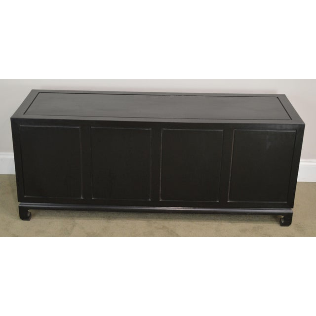 1970s Royal Cathay Trading Co. Vintage Black Painted Asian Low Console Cabinet For Sale - Image 5 of 13