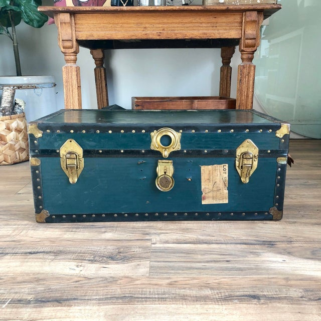 1940s Traditional Green Steamer Trunk Coffee Table For Sale - Image 13 of 13