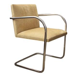 Replica Knoll Brno Tubular Side Custard Suede Chair For Sale