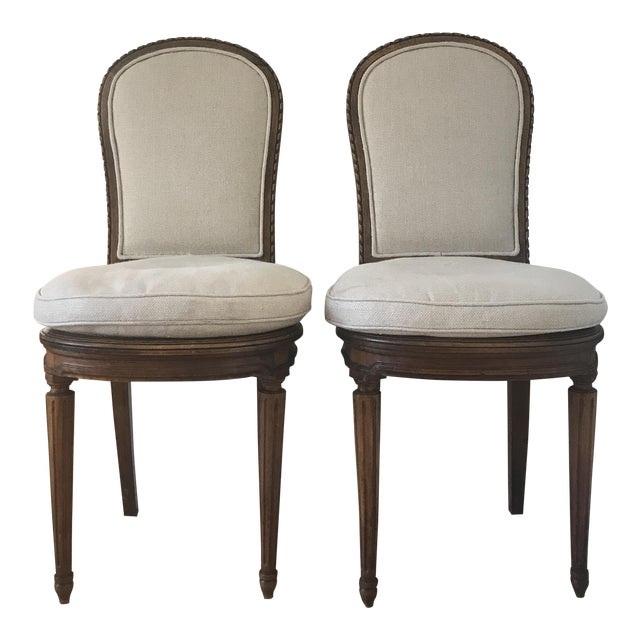 Antique Belgian Linen Dining Chairs - a Pair - Image 1 of 7