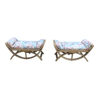 1970s Vintage Jay Spectre Rattan Benches- A Pair For Sale