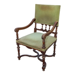 Antique French Carved Wood Armchair With Green Velvet Upholstery For Sale