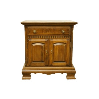 20th Century Traditional Ethan Allen Classic Manor Solid Maple Cabinet Nightstand For Sale
