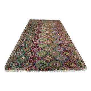 Early 20th Century Anatolian Kilim Turkish Embroidery Rug-6′5″ × 10′8″ For Sale