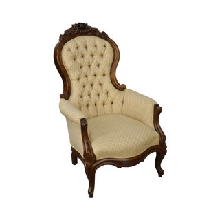 Antique Solid Walnut Victorian Tufted Parlor Chair