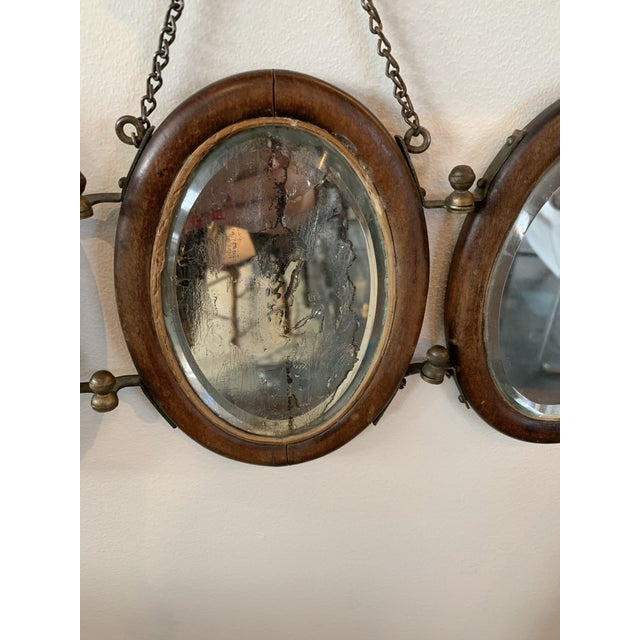 Late 20th Century Trifold Wooden Hanging Mirror For Sale - Image 5 of 6