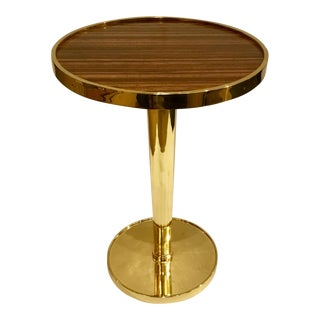 Pearson Exotic Wood and Brass Drinks Table For Sale