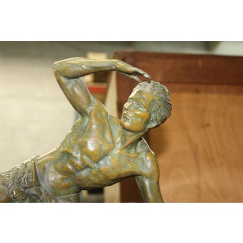 French Art Deco Patinated Metal Sculpture of Man With Dog by Jean De Roncourt - Image 6 of 8