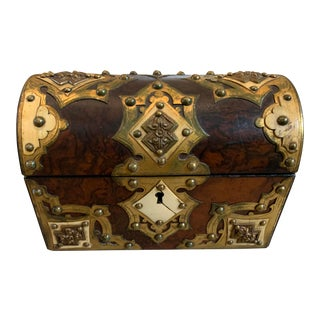 Victorian Wood and Antique Brass Stationery Box For Sale