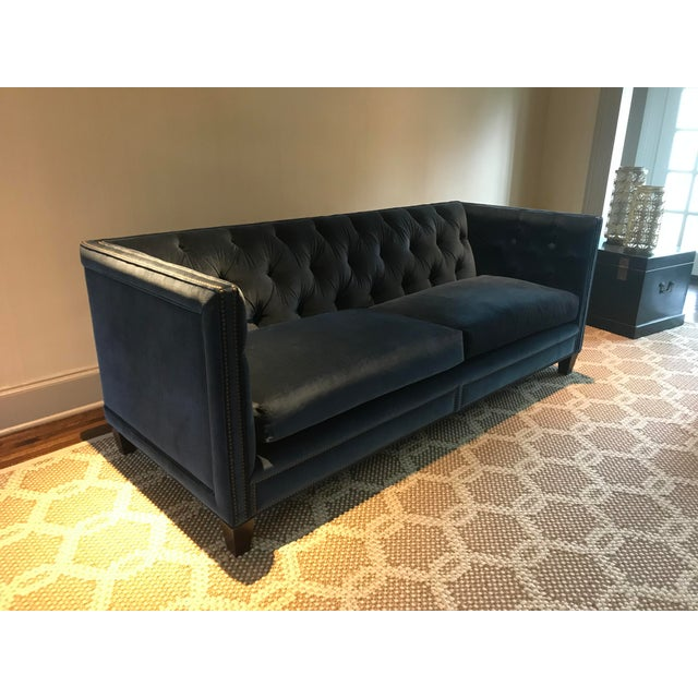 Custom made Kravet Malibu blue velvet sofa from the Metropolitan Collection. Installed in late 2014, and has been barely...