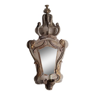 18th Century Fragment Crown Mirror Sconce For Sale