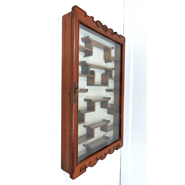 Gold Vintage Chinoiserie Solid Rosewood 'Ming Style' Glass Front Display Wall Cabinet For Sale - Image 8 of 8