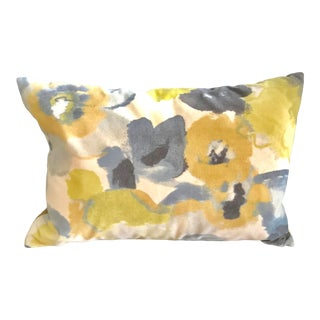 Yellow and Navy Rectangular Watercolor Velvet Pillow With Feather Filling For Sale