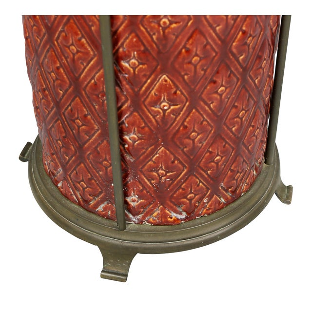 Late 19th Century English Burmantofts Pottery and Brass Umbrella Stand For Sale - Image 5 of 8