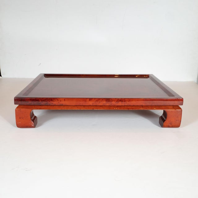 Animal Skin Enrique Garcel Mid-Century Modern Lacquered Goatskin Pagoda Style Bar Tray For Sale - Image 7 of 10