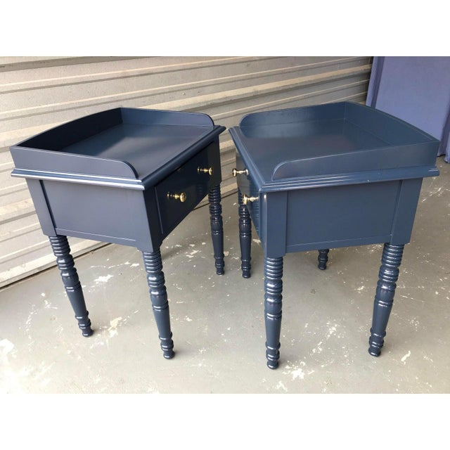 C F Kent Furniture High Gloss Blue Nightstands / End Tables - a Pair For Sale - Image 10 of 11