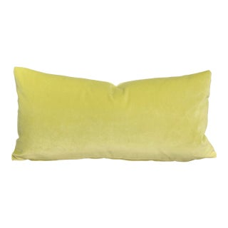 Boho Chic Chartreuse Velvet Oblong Feather Down Pillow, Custom Made For Sale