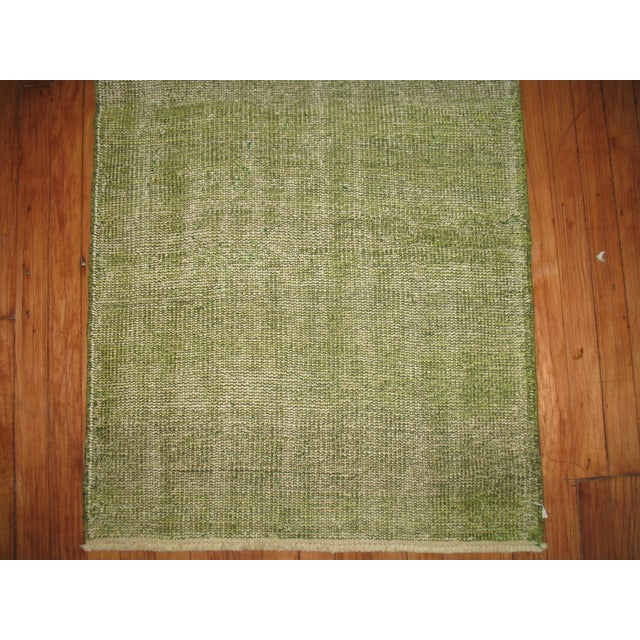 Green Over-dye Turkish Runner For Sale - Image 4 of 5