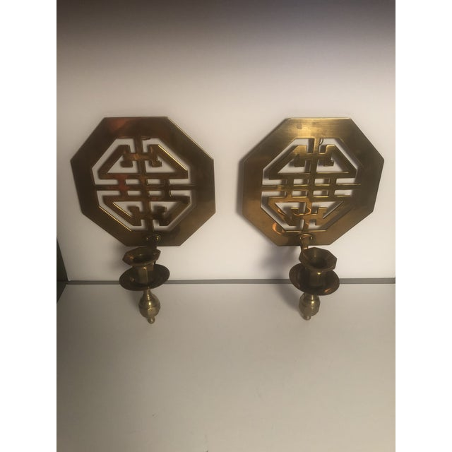 1970s Mid-Century Wall Brass Candleholders - a Pair For Sale - Image 5 of 10