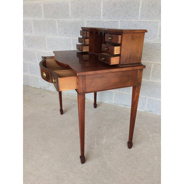 Baker Furniture Company Baker Furniture Inlaid Mahogany 9 Drawer Writing Desk For Sale - Image 4 of 9