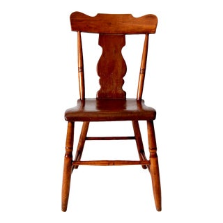 Antique Fiddle Back Plank Seat Chair For Sale