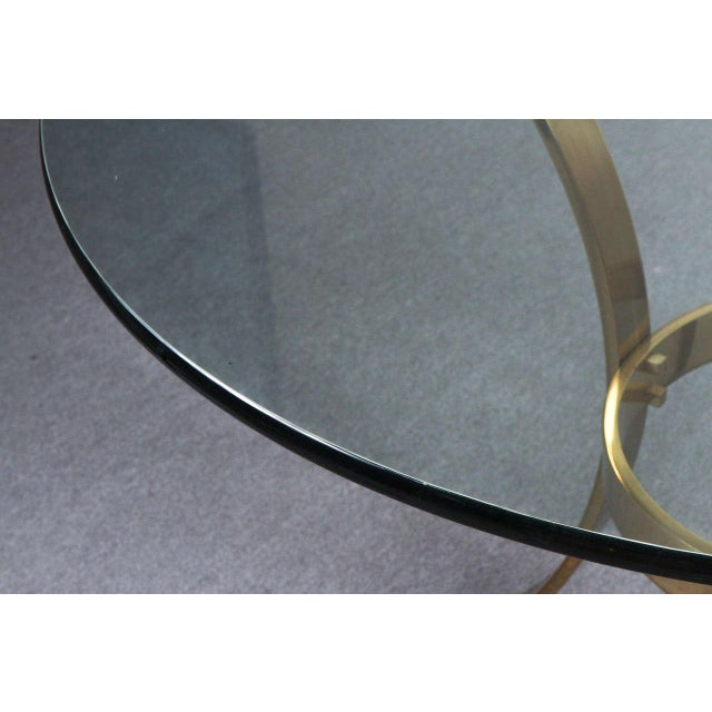 1970s Modern Brass and Glass Tripod Entry Table For Sale - Image 4 of 9