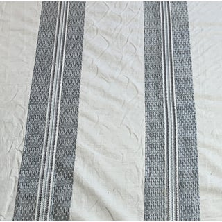 Embroidered Grey on Natural Linen Fabric For Sale