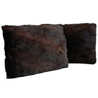 Reclaimed Vintage Mink Fur Pillows - A Pair