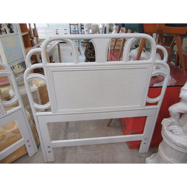 Ficks Reed White Rattan Twin Headboards - a Pair - Image 3 of 7