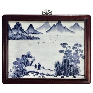 Republic Blue and White Chinese Export Porcelain Framed Plaque For Sale