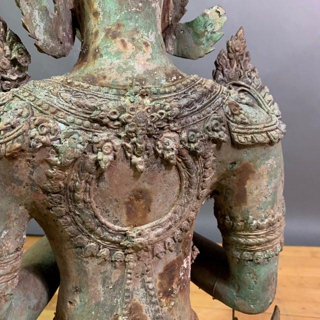 "1900 - 1909 Early 1900s Mythologic Thepphanom Angel 30"" Bronze Statue, Thailand For Sale - Image 5 of 12"